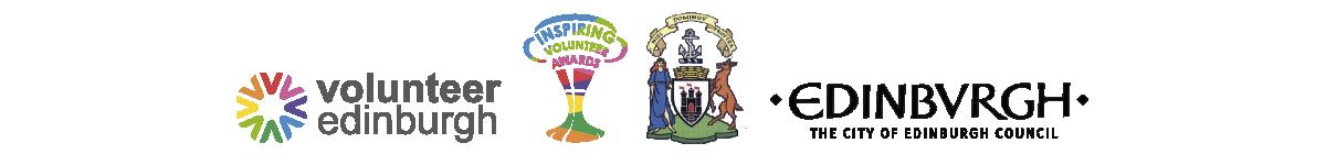 Volunteer Edinburgh, Inspiring Volunteer Awards, Office of the Lord Provost, and City of Edinburgh Council logos